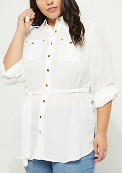 Plus Ivory Buttoned Tunic