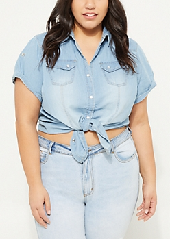 Plus Medium Blue Snap Chambray Shirt