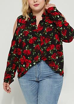 Plus Rosy Cold Shoulder Button Down Blouse