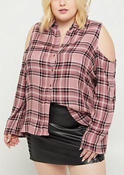 Plus Pink Plaid Cold Shoulder Shirt