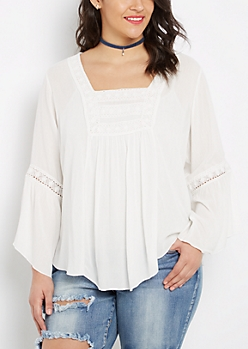 Plus Ivory Crochet Medallion Peasant Top