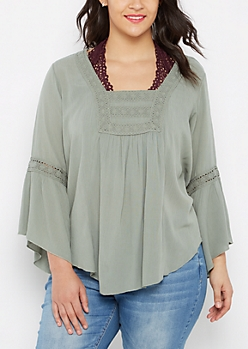 Plus Olive Crochet Medallion Peasant Top