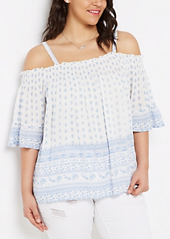 Plus Blue Folklore Smocked Off-Shoulder Top