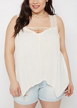 Plus Cream Crochet Lace-Up Tank Top