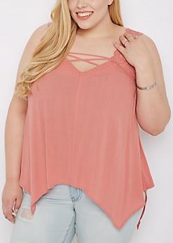 Plus Pink Crochet Lace-Up Tank Top