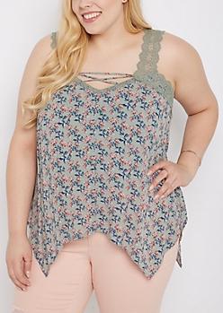 Plus Floral Crochet Lace-Up Tank Top