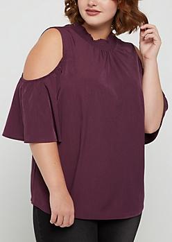 Plus Purple Floral Smocked Cold Shoulder Shirt