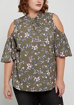 Plus Olive Floral Smocked Cold Shoulder Shirt