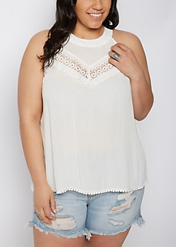 Plus Crochet High Neck Crepe Tank