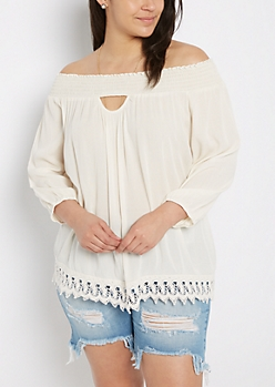Plus Ivory Smocked Keyhole Off-Shoulder Top