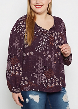 Plus Floral Burst Peasant Top