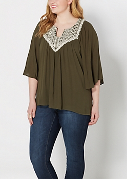Plus Olive Embroidered Bib Flutter Top