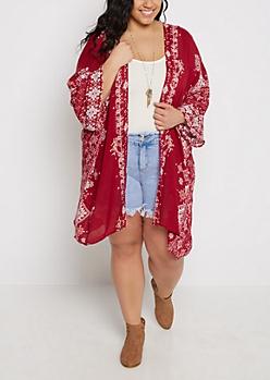 Plus Red Aztec Cascading Kimono