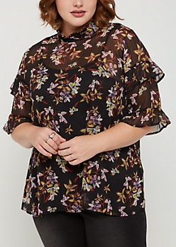 Plus Floral Sheer Gauze Ruffled Top