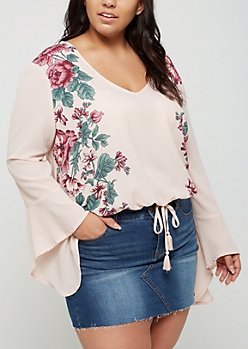 Plus Wildflower V Neck Bell Sleeve Top