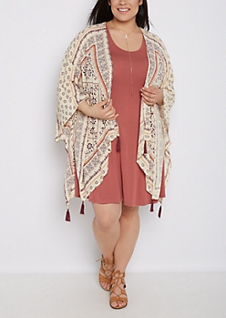 Plus Folklore Tasseled Cascading Kimono