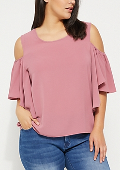 Plus Pink Cold Shoulder Butterfly Sleeves Blouse