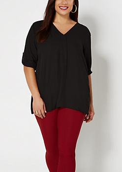 Plus Black Crepe Popover Top