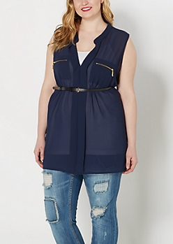 Plus Navy Belted Chiffon Tunic Top