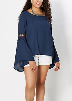 Plus Navy Gauze Peasant Top
