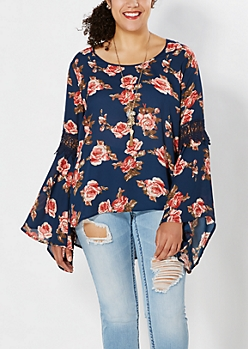 Plus Navy Floral Peasant Top