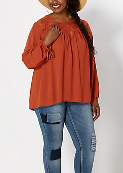 Plus Burnt Orange Crochet Peasant Top