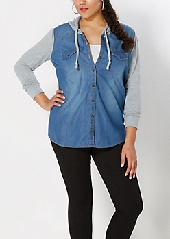 Plus Knit Hooded Chambray Top
