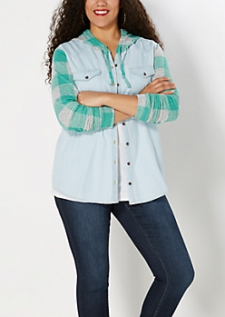 Plus Chambray Buffalo Plaid Hooded Top