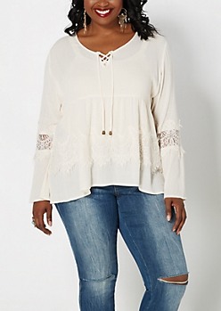 Plus Ivory Lace Bell Sleeve Babydoll Top
