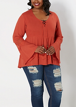 Plus Orange Lace Bell Sleeve Babydoll Top