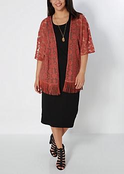 Plus Geo Embroidered Fringe Kimono