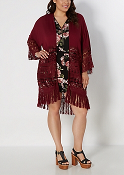 Plus Burgundy Floral Crochet Fringe Kimono