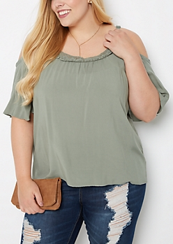 Plus Olive Crochet Trim Cold Shoulder Top