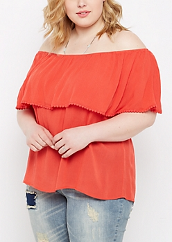 Plus Coral Crochet Flounce Off-Shoulder Shirt