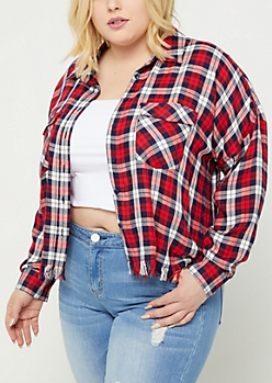 Plus Red Plaid Frayed Crop Flannel
