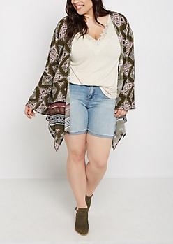 Plus Blooming Mandala Cascading Kimono