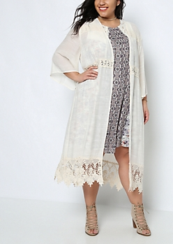 Plus Crochet Bell Sleeve Cardigan Duster
