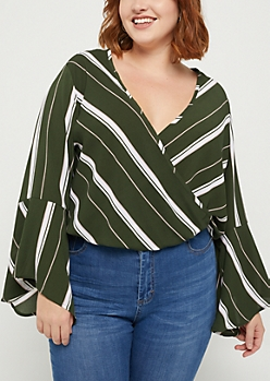 Plus Green Striped Surplice Crepe Top