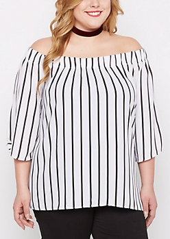 Plus Black Striped Off-Shoulder Top