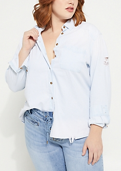 Plus Light Blue Destroyed Denim Shirt