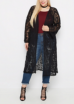 Plus Black Floral Lace Duster