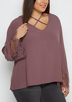 Plus Lattice Lace-Sleeved Blouse