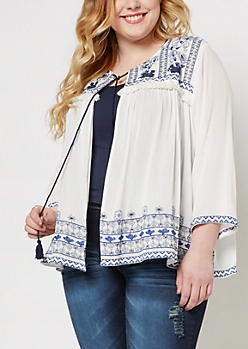 Plus Folklore Open-Front Crepe Wrap
