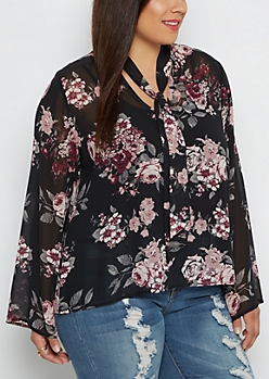 Plus Rosy Chiffon Tie-Neck Blouse