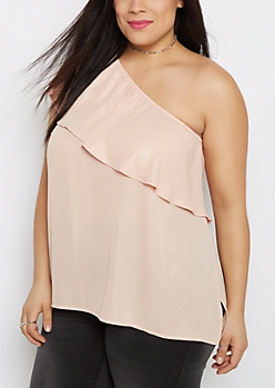 Plus Ruffled Single Shoulder Top