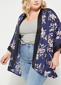 Plus Navy Rose Printed Sateen Kimono