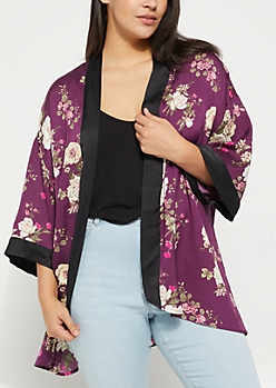 Plus Purple Rose Printed Sateen Kimono