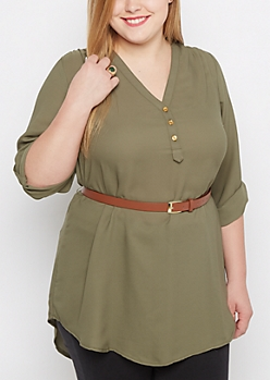 Plus Olive Belted Tunic Blouse