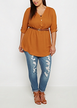 Plus Burnt Orange Belted Tunic Blouse