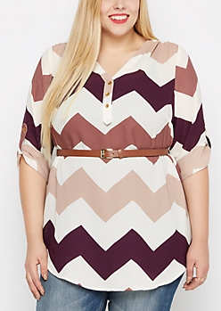 Plus Burgundy Chevron Belted Tunic Blouse